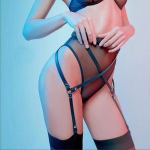 Other - NEW! Black Faux Leather Garter Body Harness